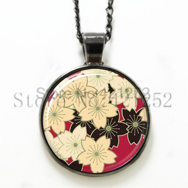 Japanese Style Flower-Photo Glass Dome Necklace Pendant Sakura Cherry Blossom