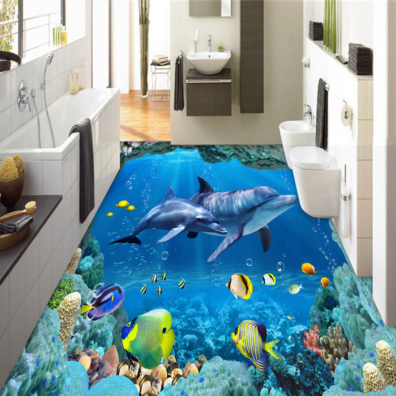 Custom Photo Wall Paper 3D Stereo Underwater World Dolphins 3D Floor Tiles Murals Bathroom Living Room Waterproof PVC Wallpapers