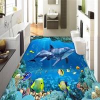 Custom Photo Wall Paper 3D Stereo Underwater World Dolphins 3D Floor Tiles Murals Bathroom Living Room