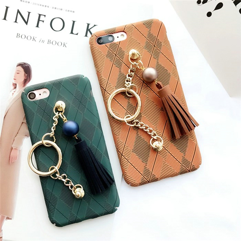 Retro Diamond Grid Pendant Tassels Chain Case for Apple Iphone 7 6 6s Plus Metal Ring Full Protection Back Cover for Iphone 6