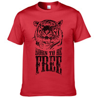 2019 Letter Born to be free tiger T shirt men brand clothing animal printed male T shirt top quality 100% cotton Cool TBT