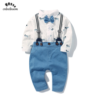 37584cb47 Boys Baby Long Sleeved Gentleman Suit Infant Toddler Bodysuits Bib Pants  Two Piece Children S Clothing