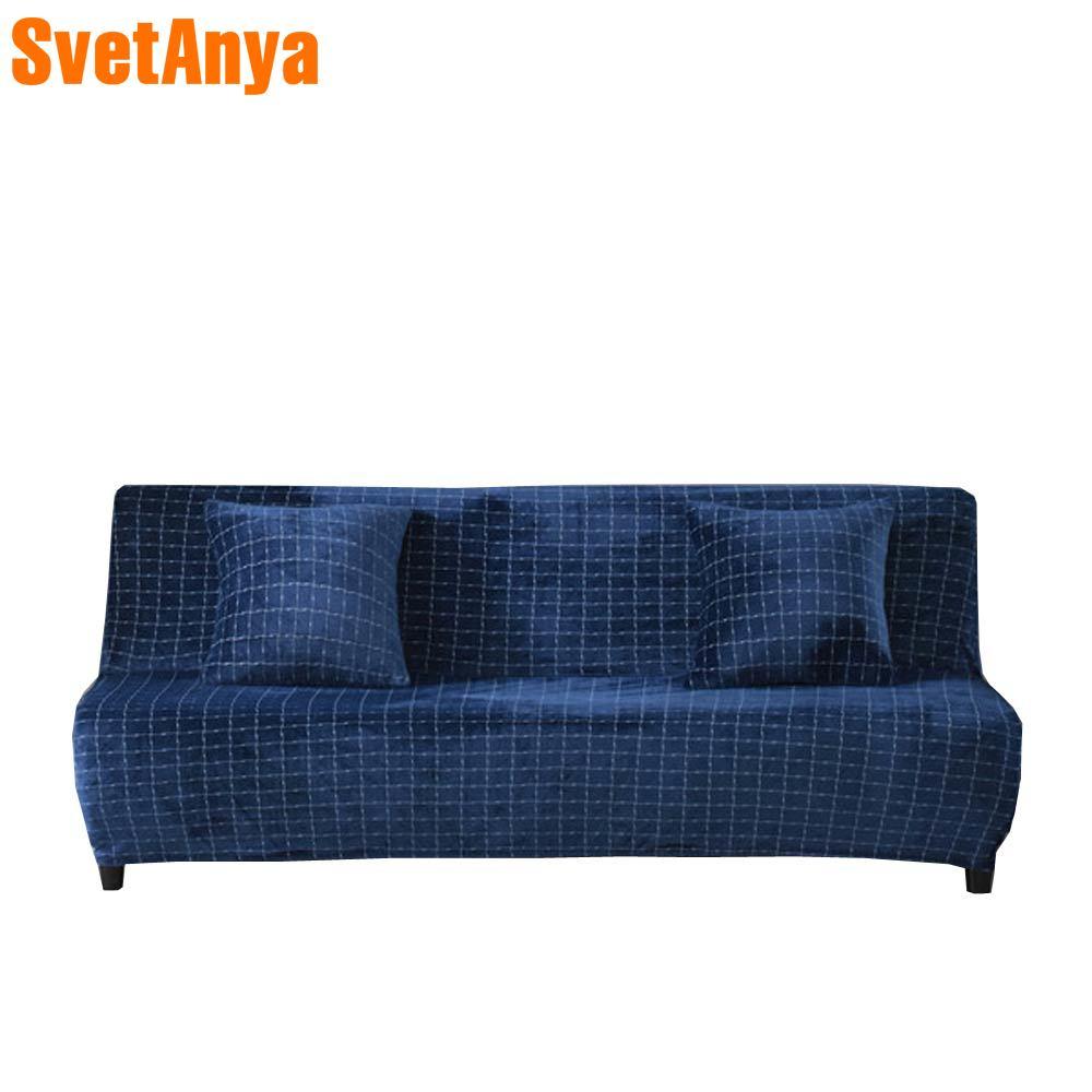 2018 Soft Deep Blue Stretch Elastic 160 190cm No Armrest Sofa Cover Slip Cover Polyester/Spandex Parlour Living Room