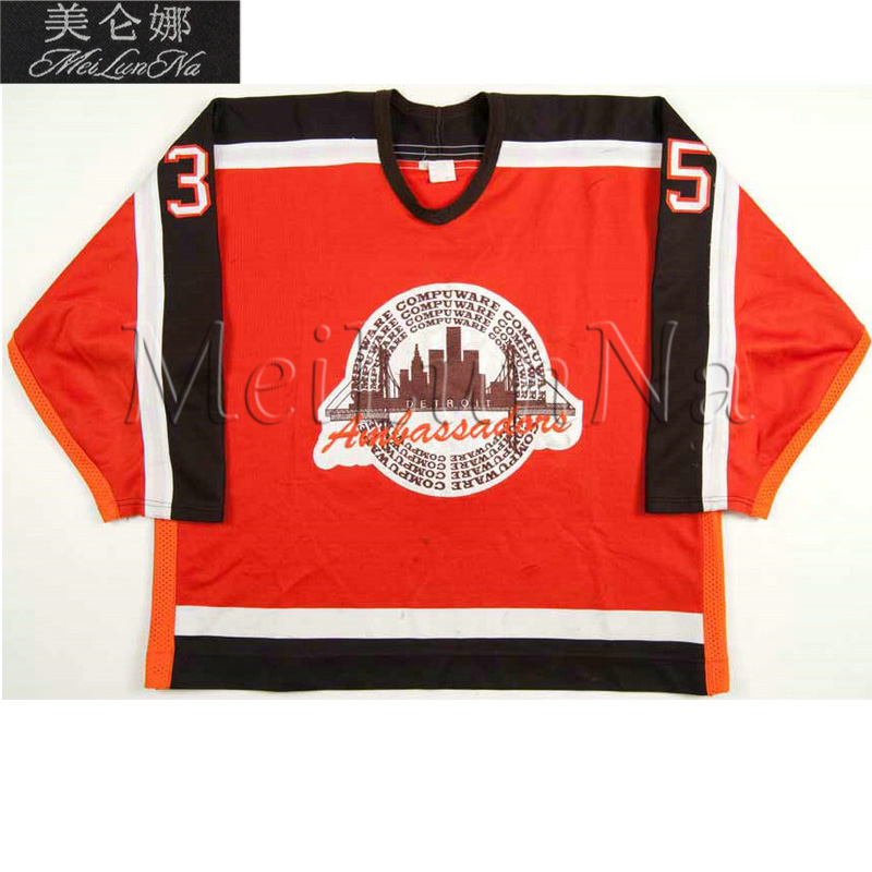 MeiLunNa Customize OHL Detroit Compuware Ambassadors Jerseys Home Road  White Orange Sewn On Any Name NO c80bb0e57