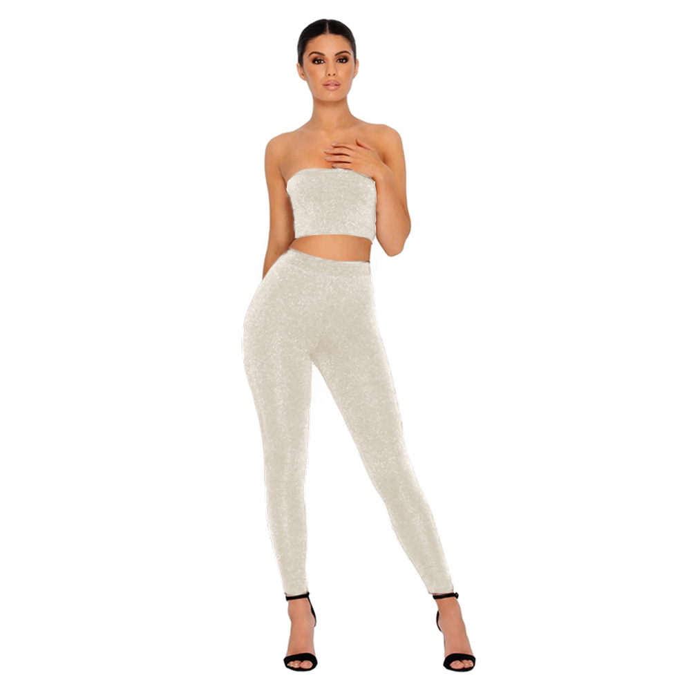 two piece set top and pants summer sleeveless strapless sexy crop tops bodycon streetwear women sets clothes  leggings