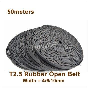 POWGE 50meters T2.5 Timing Belt W=4/6/10mm T2.5 Open Synchronous Belt Trapezoid Timing Belt T2.5 Timing Pulley T2.5-6 T2.5-10