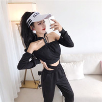 Club Outfits Women Two Pieces Sweatsuits KTV Off shoulder Crop Top Shirt High Waist Pants Suits 2 Piece Hoodies Sexy Tracksuits