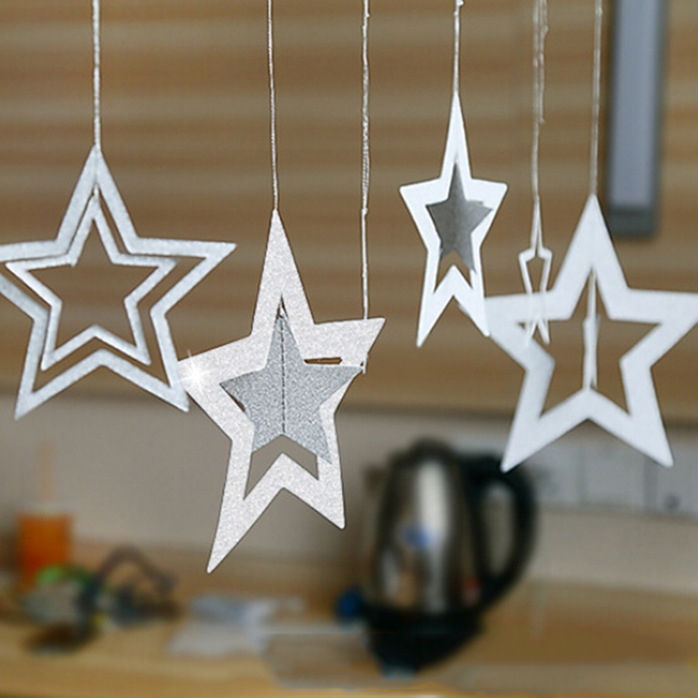 7Pcs Star Hanging Ornaments Hollow Glitter Star Pendant