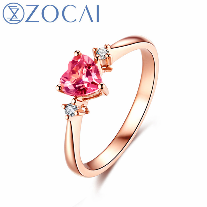ZOCAI New Engagement Rings Ruby 0.5ct/Rubellite 0.4ct Ring 18k Rose Gold Gift Ring Free Shipping W03250