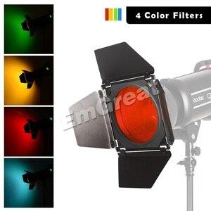 Image 5 - Видеосветильник Godox, светодиодный, 4 цвета, 5600K, 150 Вт, CRI, 93 +, Bowens Mount, с пультом дистанционного управления, для дверей амбара, в клетку, с 4 цветными фильтрами