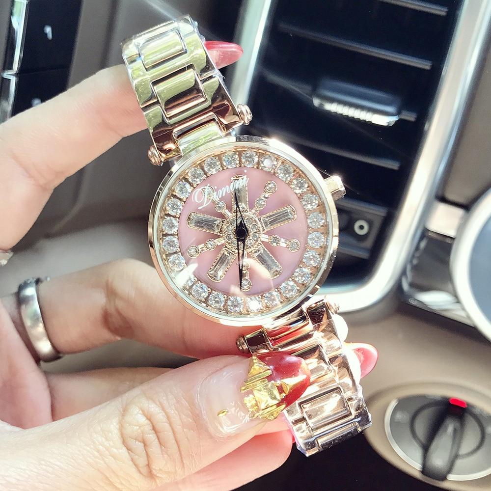 2019 Élégant montres femmes De Luxe de Diamant montres à quartz De Luxe Cristal Dames acier inoxydable Montres montre pour femme Horloge