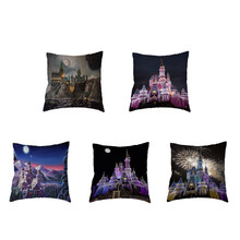 Dream Castle Polyester Peach Skin Cushion Cover Fireworks Pumpkin Lamp Beautiful Princess Car Seat Home Sofa Decorate Pillowcase(China)