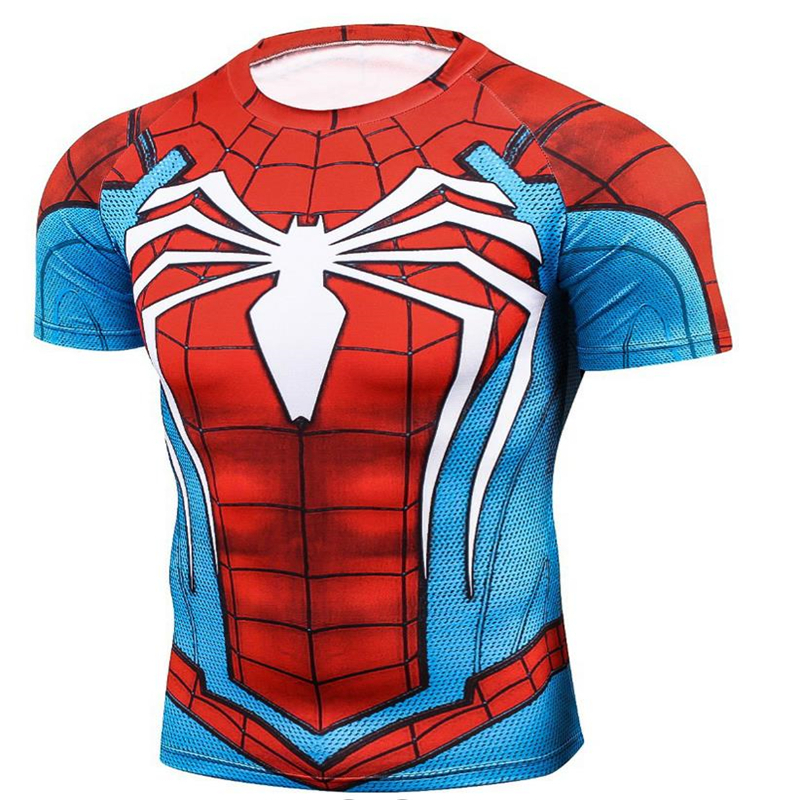 Seasonal New Revenge Returns Steel Spiderman 3D Digital Printing T-Shirt Round Neck Loose Short-Sleeved Men's Casual Sweatshirt