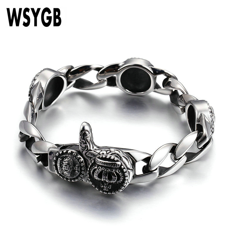Men Skull Crown Bracelet Hiphop/Rock Style Silver Color Top Quality 316 L Stainless Steel Casting Bracelets Charm Jewelry