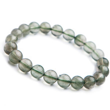 9mm Natural Green Rutilated Quartz Bracelets For Women Female Stretch Crystal Round Bead Bracelet Drop Shipping