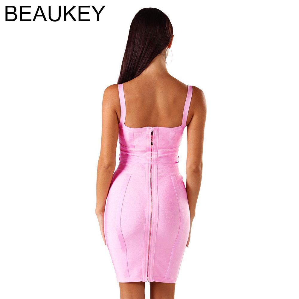 BEAUKEY Fashion Pink Sexy Bandage Dresses Women Spaghetti Strap Belt Sashes Green White V Neck Party Club Vestidos Bodycon 2020
