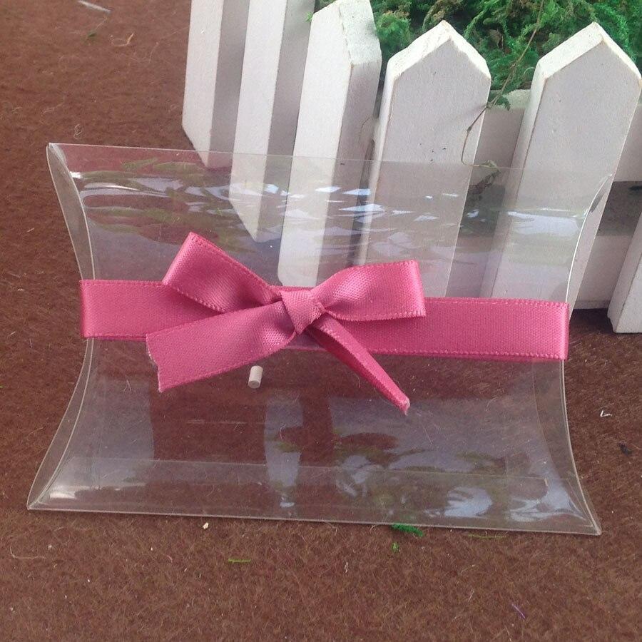 2016 NewClear PVC Pillow Box & pink Ribbon Wedding Favor Bridal Gift Box 1lot=50pcs box +50 pcs ribbon Custom Logo Moq : 1000