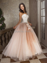 Ball Gown Sweetheart Hand made Flower Floor length Sleeveless Tulle Sixteen Teenager Party Long Peach font