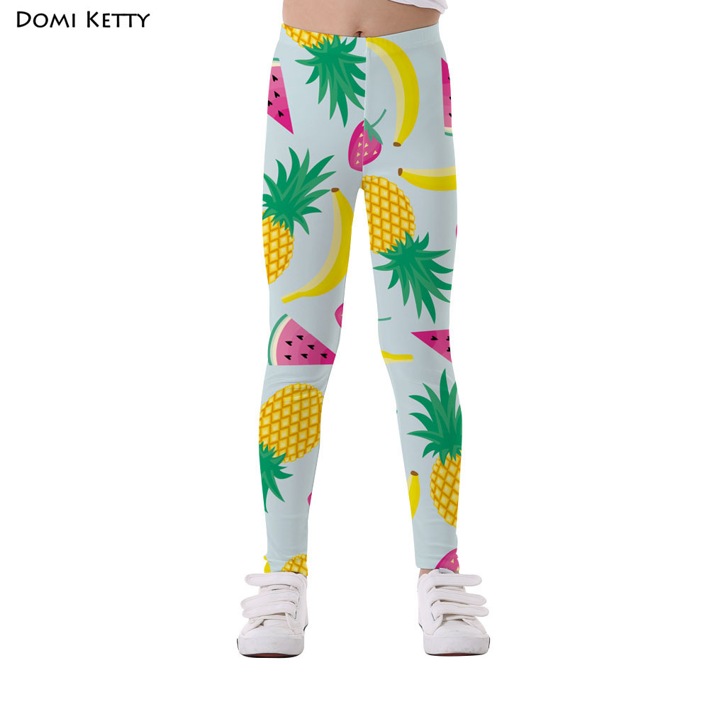 Domi Ketty cartoon kids leggings print pineapple fruits party girls casual fitness high waist leggings 2018 children baby pants