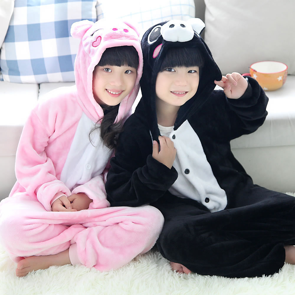 2016 New Children Cartoon pig onesies costume Cute cartoon pajamas Kids flannel sleepwear Winter Christmas Halloween costume