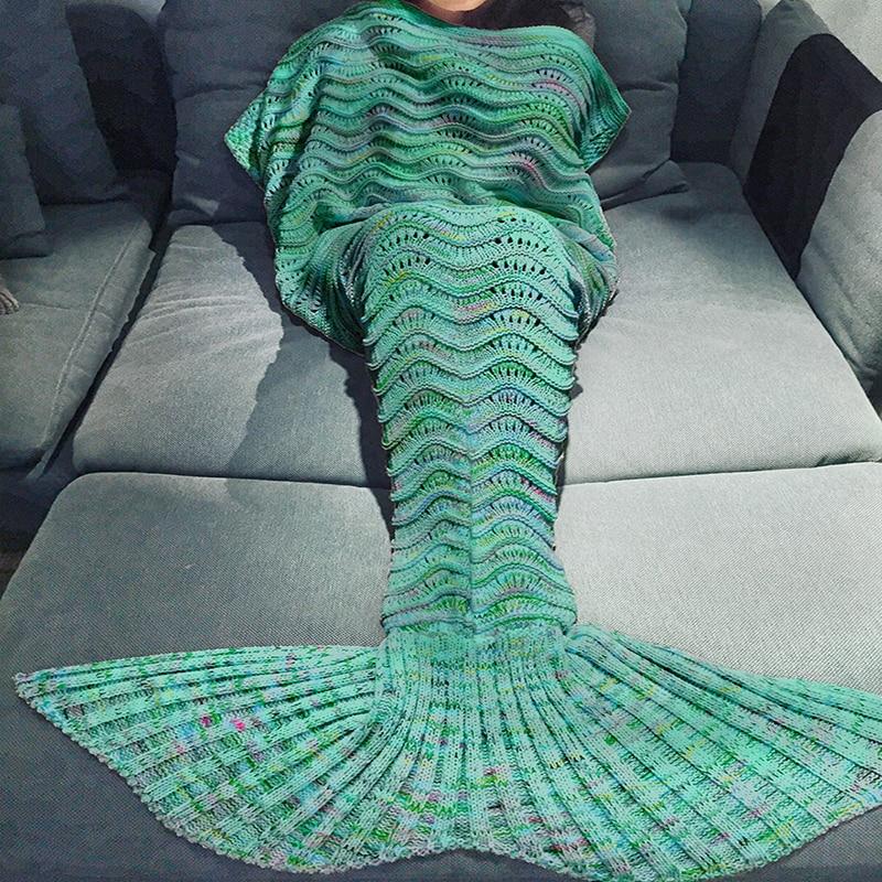 185x90cm Colorful Soft Knitted Mermaid Tail Blanket Adult Handmade Crochet Yarn Mermaid Blanket Sofa Warm Wrap Sleeping Bag