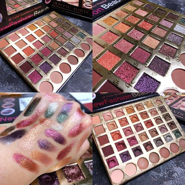 Paleta de sombra de ojos 42 colores maquillaje profesional de larga duración mate brillo sombra de ojos Pallete sombra de ojos pigmentada maquillaje Pallete