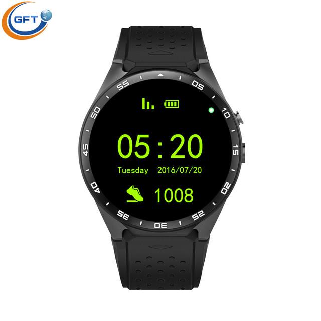 GFT KW88 2016 mais novo 3G wifi relógio inteligente sim 512RAM + 4G ROM 1.4 polegadas com monitor de freqüência cardíaca 2.0 M OIS câmera para IOS e android