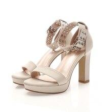 New Summer Open Toe Ankle Strap Black Sweet Thick High Heel Sandals Platform Lady Women Rivet Female Footwear  Shoes CH-B0056 недорго, оригинальная цена