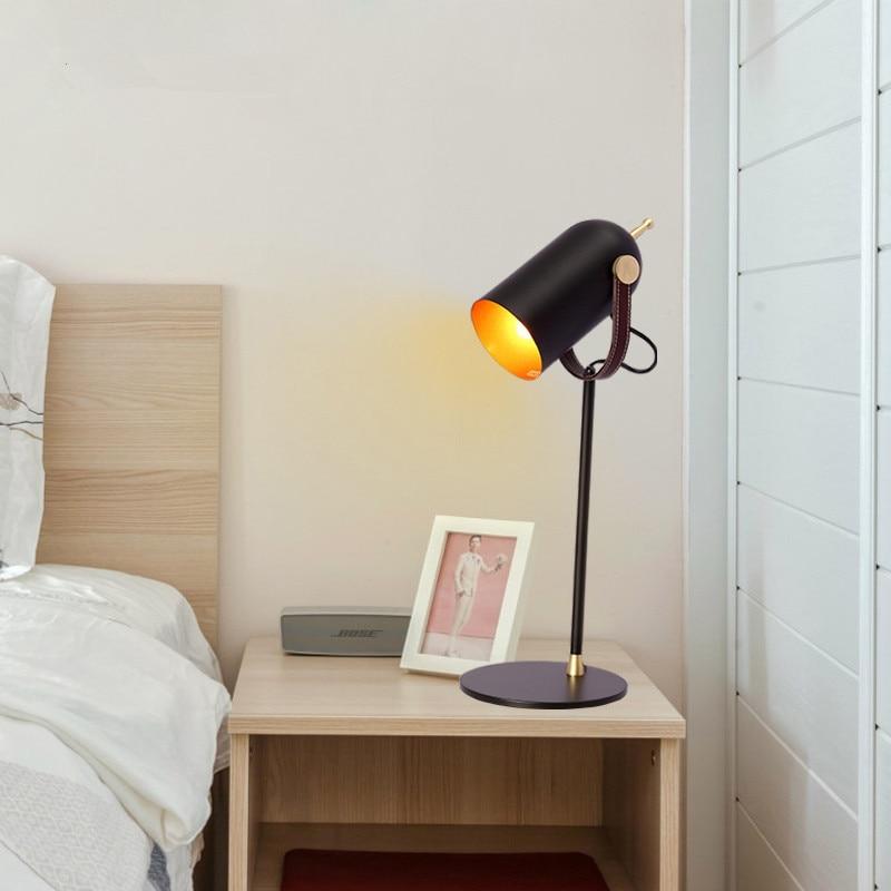 Креативная черная железная настольная лампа для спальни гостиной прикроватная тумбочка для ЕС/США/saa Разъем E27 led регулируемые черные хип хоп настольные лампы старинная настольная лампа - 5