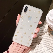 Tfshining Glitter Moon Star Bling Soft Phone Cases For iPhone X XR XS Max 7 8 Plus 6 6s Conch Shell Case Transparent Cover Capa
