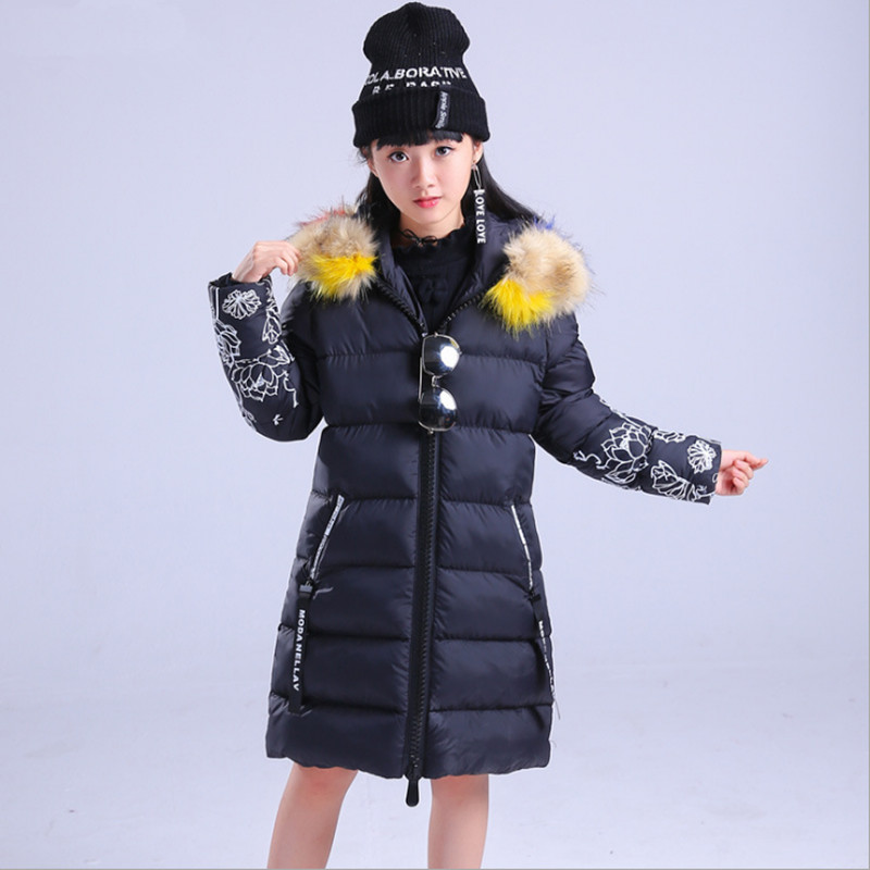 130-170 2017 Winter Girls Long Cotton-padded Jackets Coat Fashion Fox Fur Collar Lotus Printed Thick Warm Hooded Wadded Jacket