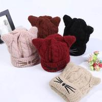 Winter Thick Baby Hat Cat Pattern Boy Girl Knitted Hat Cap Infant Children Beanies Chapeu Quente