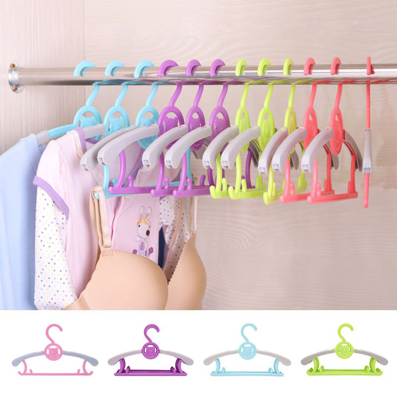 1 Pc Magic Multi-Functional Adjustable Plastic Baby Hangers Clothes Hanger Rack Children Kids Adult Clothing Drying Rack 4 Color
