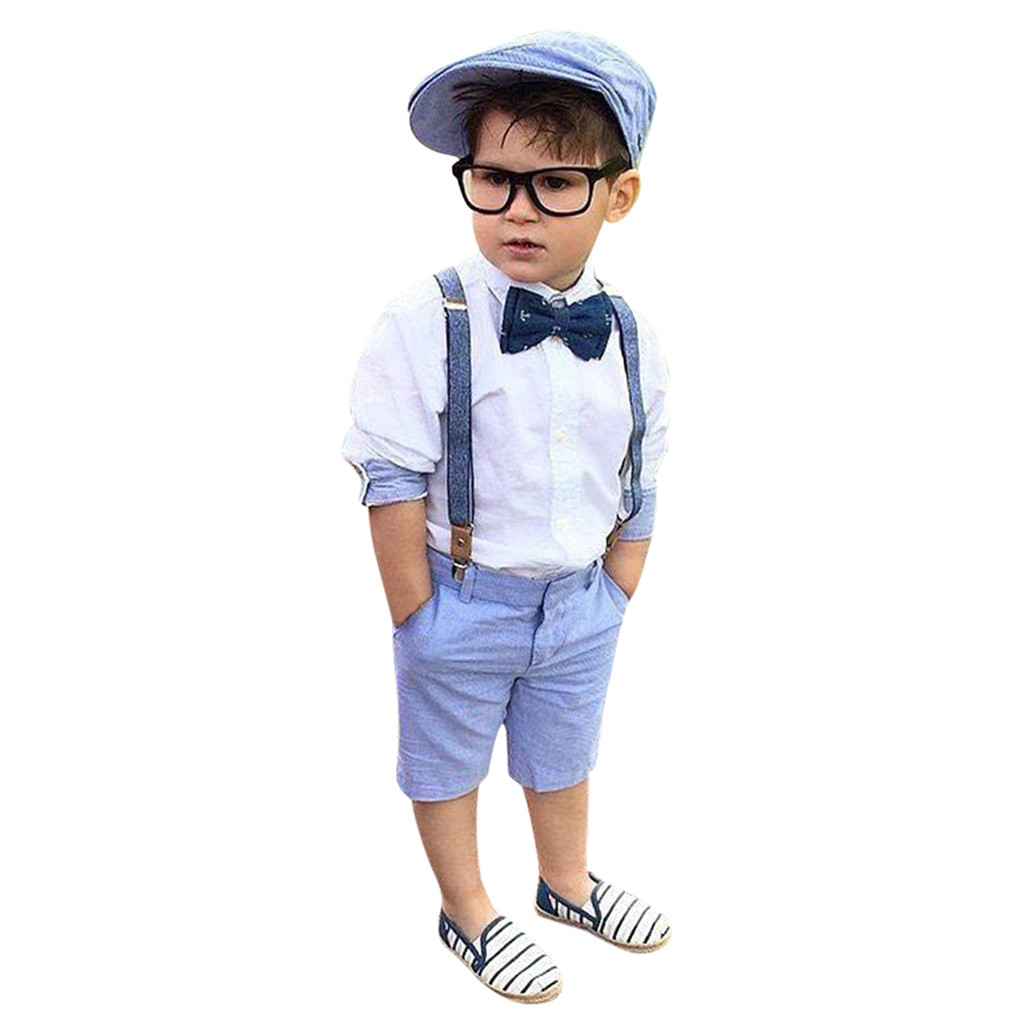 Summer 2 pieces Kid Boy Clothes Toddler Kids Baby Boys Outfit Clothes Shirt+Shorts Pants Gentleman suspender trousers Party Suit(China)
