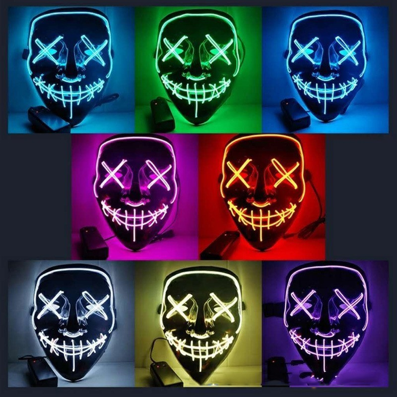 Halloween Mask LED Light Up Party Mask The Purge Election Year Great Funny Mask Festival Cosplay Costume Supplies Glow In Dark