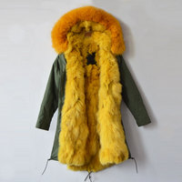 100% real fox fur parka,army green winter long style jacket for mr&mrs wear fur jacket drop shipping