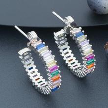 ModemAngel Delicate mix Color Full Cubic Zirconia DUBAI Women Wedding Bridal Round Circle Earrings