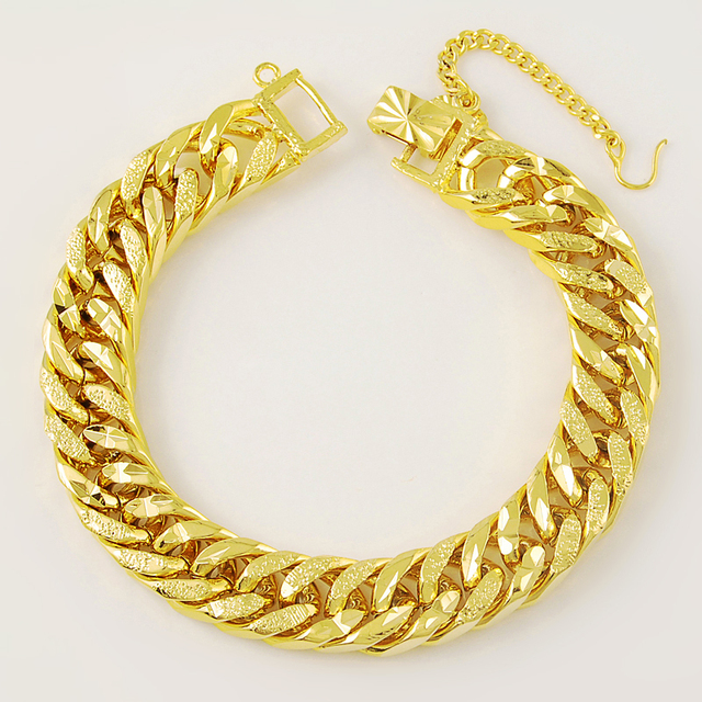 Personality And Classic 24k Gold Link Chain Bracelet For Women Men
