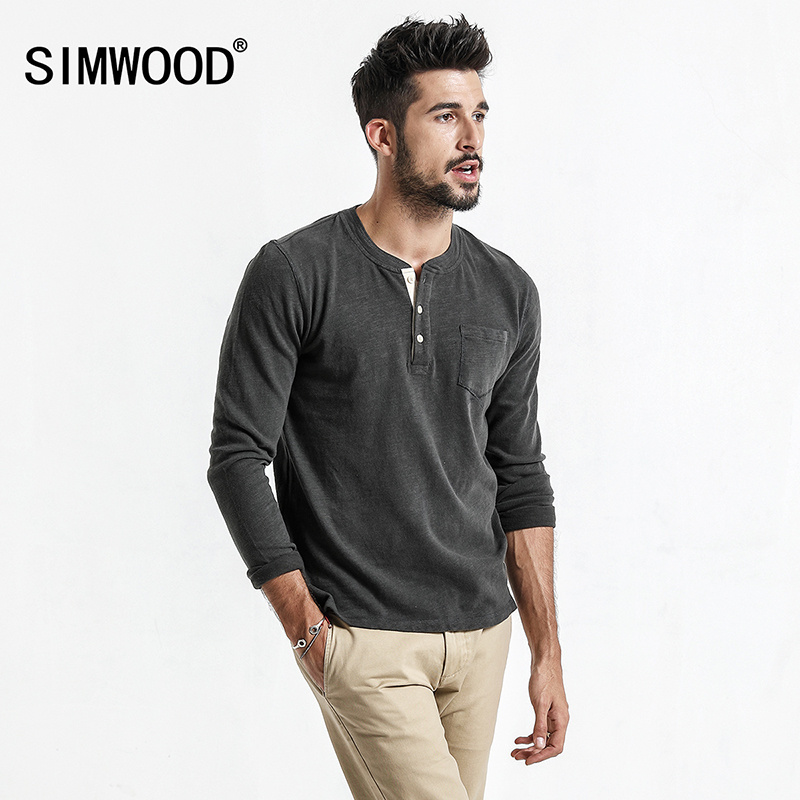 SIMWOOD 2017 New Spring Men Long Sleeve   T     shirt   100% Cotton High Quality Pullover Casual Fashion   Shirt   Brand Clothes TC017009