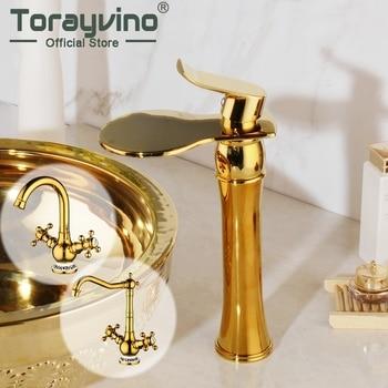 Torayvino Rotated Golden Brass Water Kitchen Sink Basin Vessel Double Handles Swivel Golden Polished Deck Mounted Mixer Faucet