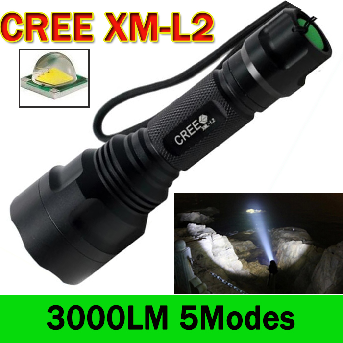 LED Flashlight 3000 Lumens C8 Cree XM-L2 LED Torch Lanterna 5 Modes LED Flashlight  Camping Hunting Tactical Flashlight  ZK59 3000 lumens zoomable cree xm l t6 led tactical flashlight torch zoom lamp light waterproof led 5 modes for 1x18650 3xaaa