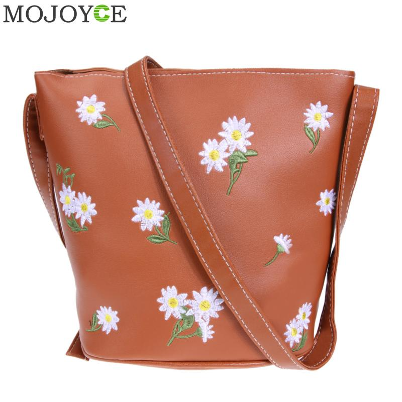 Retro Soft PU Leather Shoulder Bag Floral Embroidered Bucket Bag Women Messenger Bags Ladies Crossbody Small Bags Female Handbag new fashion women girl student fresh patent leather messenger satchel crossbody shoulder bag handbag floral cover soft specail