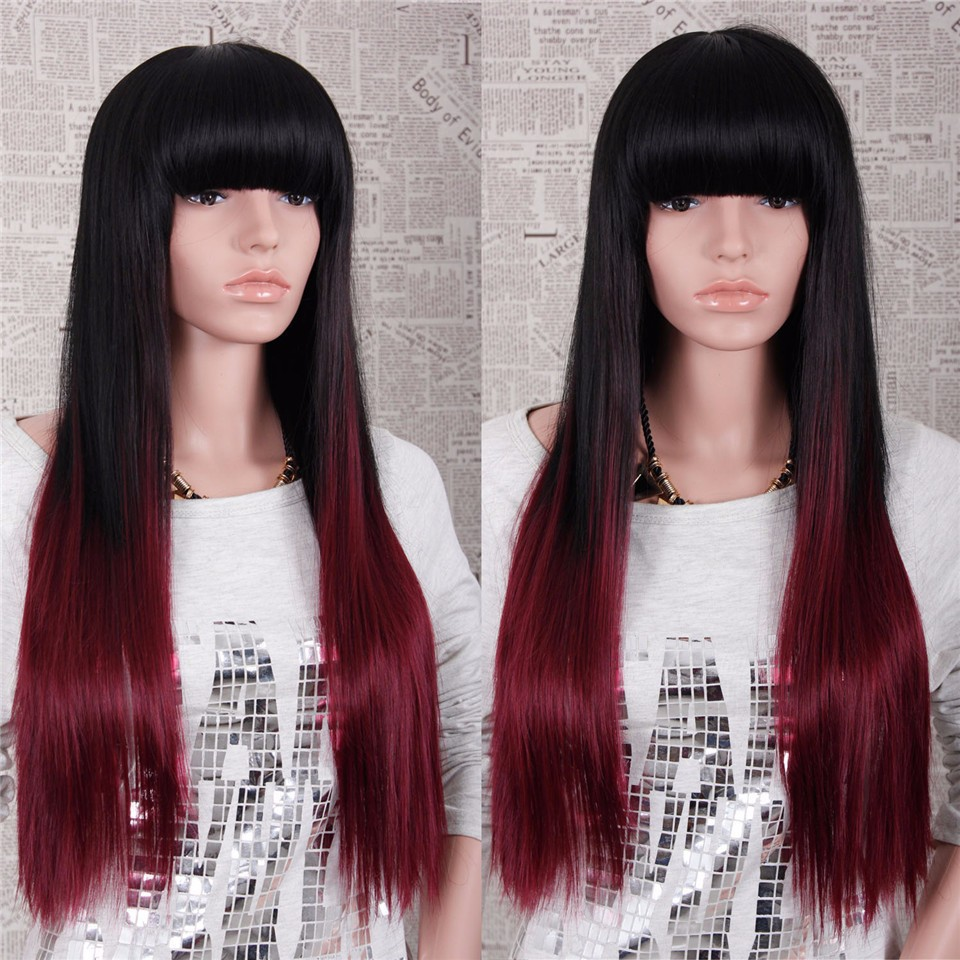 cheap ombre wig with full bangs