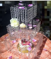 Table Center Decoration 3 tires Wedding Crystal Cake Stand cake holders Party Props Table Chandelier