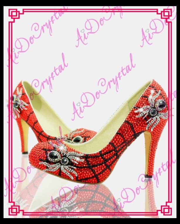 aidocrystal animal print spider web high heels red crystal stiletto