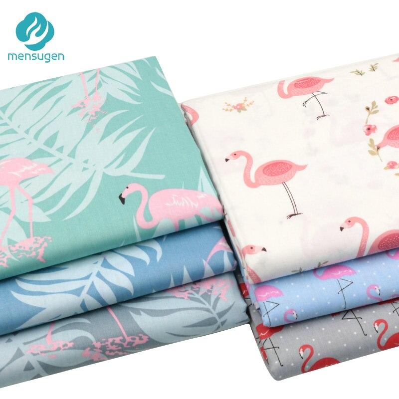 Mensugen метры из 100% хлопчатобумажной ткани с принтом фламинго для изготовления подушек, одеял, детских кроваток, простыней, одежды, швейная тка...