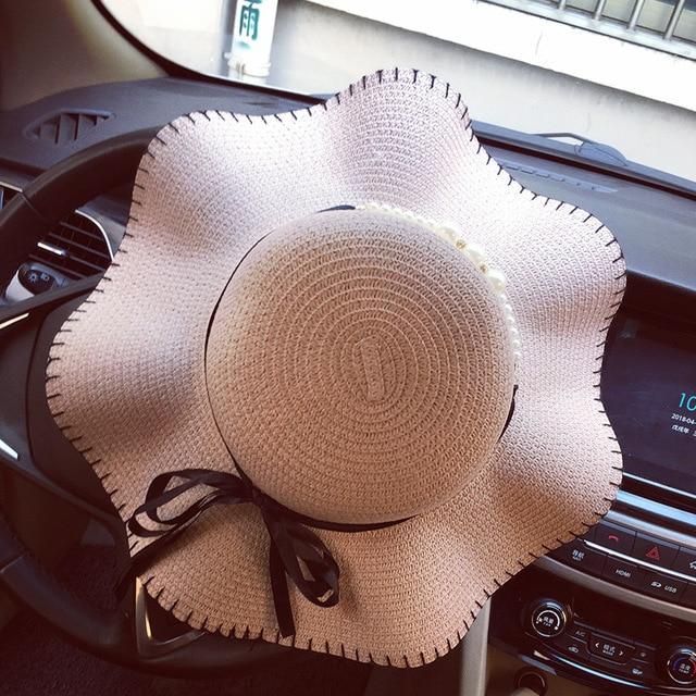 e3919bae2f6 Wide Brim Straw Hats Bow Round Beach Summer Hats Ladies 2018 chapeu  feminino Fashion Hats for Women Apparel Accessories
