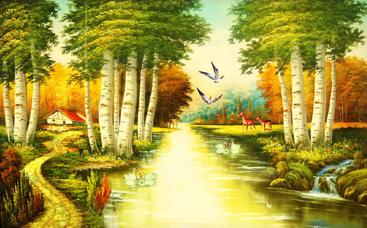 Nature river since the design of modern household wall paint