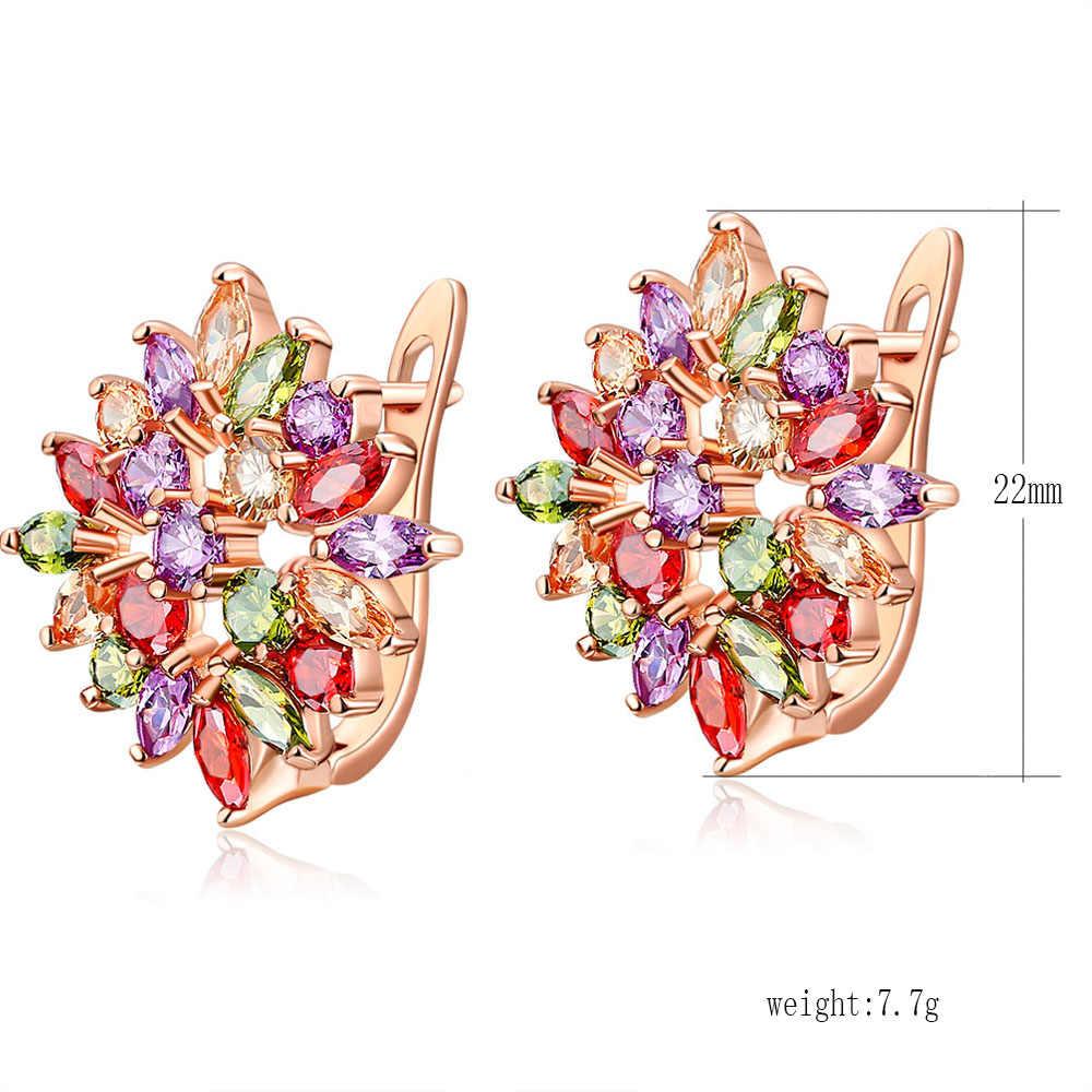 FYM Marke Mode Bunte Blume Aussage Bijoux CZ Zirkon Brincos Hoop Ohrringe Für Frauen Partei Schmuck Boucle d'oreille