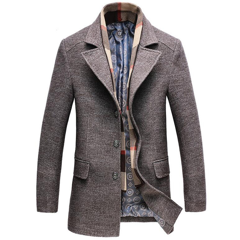 Woolen coat men winter thick windbreaker detachable scarf overcoat abrigo hombre male casual long jacket bussiness trench coats-in Wool & Blends from Men's Clothing    1